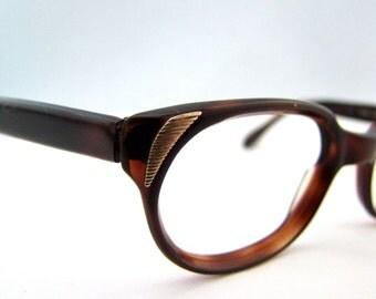 1950s Eyeglasses // Vintage Tortoiseshell Frames // Made in Germany