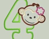 Mod Monkey Girl Applique Design with Number 4
