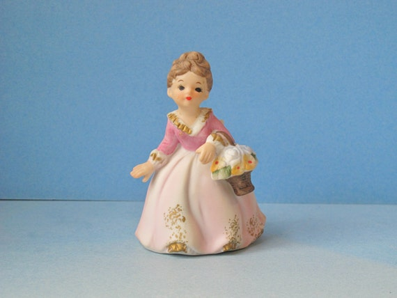 Vintage Fine Porcelain Hand Painted Girl with Flower Basket Bisque Figurine / Lady in Pink Dress, Woman Collectible Figurine, Curio Display