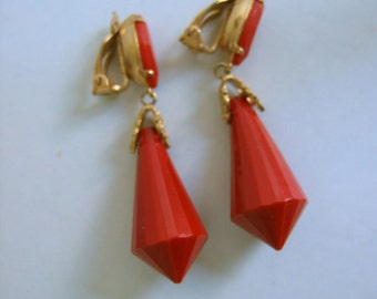 Vintage 1960's, Lewis Segal, California, Clip on Earrings. Red and Fabulous.