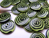 whimsy lime green  swirl button - 7/8 inch - 2