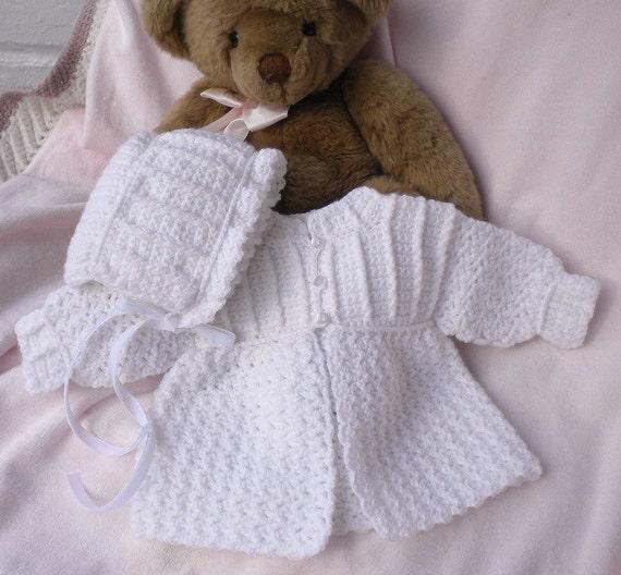 Crocheted Newborn Sweater Bonnet Baby Girl White 0 3mo Custom