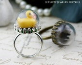2.2 Per Set - 5 sets 15mm Small Half Globe Glass Bottle With Crown Ring (GHS02) - Big Sale