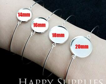 10pcs Cabochon Pendant Base Bangle Bracelet With 14mm/ 16mm/ 18mm/ 20mm Pad (PBC-E)