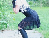Dress - Steampunk - Victorian - Black Ruffled Short Dress - Gothic - Lolita - Handmade Designer Fashion - Size Large