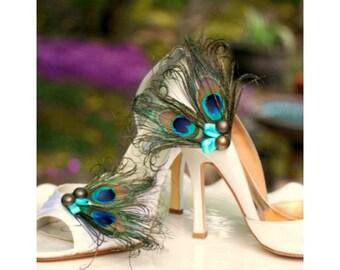 Fancy Shoe Clips Iridescent Peacock & Turquoise Bow. Sophisticated Bride Bridesmaid Bridal Party, Chic Burlesque Boudoir, Golden Teal Aqua