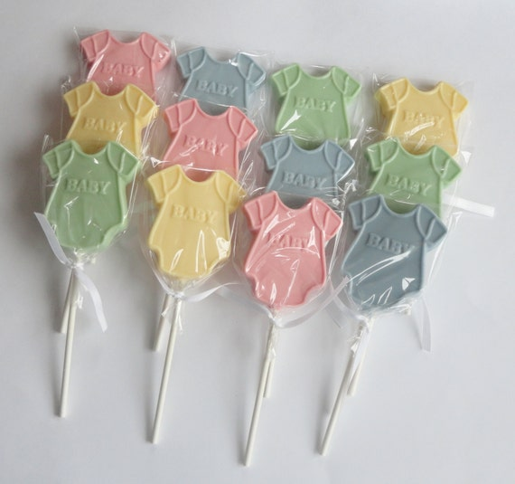 dozen chocolate onesie lollipops baby shower or gender reveal