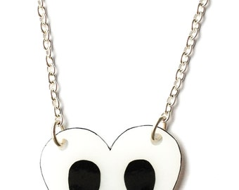 Skull Heart Necklace - Halloween - Love You To Death - Black and White - Love, Goth, Emo