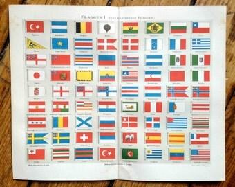 1889 FLAGS ANTIQUE LITHOGRAPH - original antique print - international country flag - National flags -
