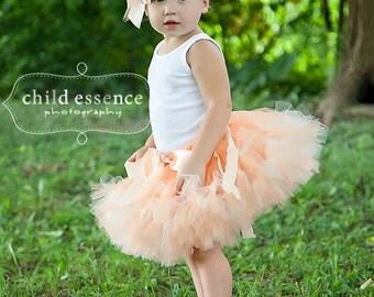Peach Birthday Tutu Dress, baby Girls Birthday Outfits, Cake Smash Outfit and Birthday Photo Props, Cakesmash Sets