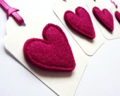 Felt Heart Gift Tags / Name Labels - Set of Six - Available in Red or Pink - Valentine's Day / Mother's Day / Birthday Tags