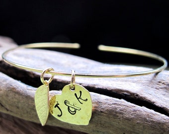 Gold Initial Bangle Bracelet - Personalized Cuff Bracelet - Leaf, Heart Hand Stamped Charm - Friendship Jewelry - Gold Charm Bangle