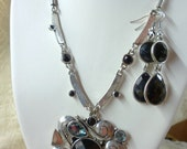 """rhinestone necklace and earring set signed """"Passion"""""""