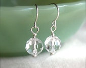 Crystal Earrings Petite, vintage style crystal earrings, Single Ball Drop, Crystal Ball, Faceted Glass Beads