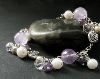 Amethyst Bracelet. Celtic Knot Bracelet. Gemstone Bracelet with Crystal and Pearl in Silver. Handmade Jewelry.