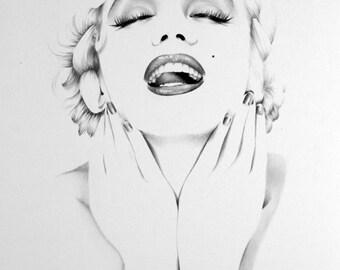 Marilyn Monroe Pencil Drawing Fine Art Signed Print