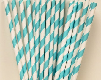 Paper Straws, 25 Robins Egg Blue Striped Paper Straws, Wedding Paper Drinking Straws, Mason Jar Straws,  BIrthday Party Straws, Baby Shower