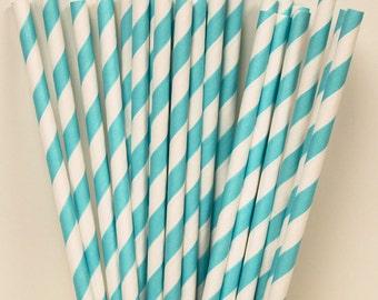 Paper Straws, 25 Robins Egg Blue Striped Paper Straws, Wedding Paper Drinking Straws, Mason Jar Straws,  BIrthday Party Straws, Baby Shower