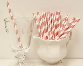 Paper Straws, 25 Pink Rose Cocktail Paper Straws, Short Paper Straw, Kids Paper Straw, Cake Pop Sticks, Baby Shower, Wedding Cocktail Straws