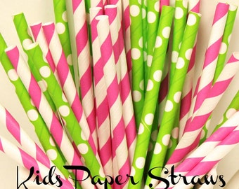 PAPER STRAWS,  25 Hot Pink and Green Party Straws, Kids Party, Short Paper Straws, Pink Paper Straws, Girls Party, BIrthday, Baby Shower