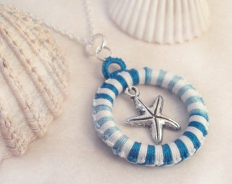 Tatted Nautical Starfish Pendant - Alys in variegated turquoise and white
