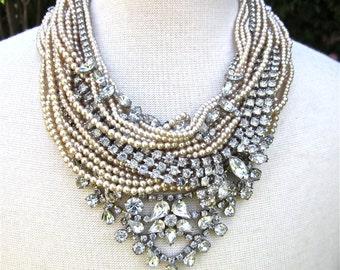Bridal Necklace Wedding Necklace Wedding Jewelry Chunky Rhinestone Pearl Statement Necklace Rhinestone Vintage Wedding Necklace MADE TO ORDR