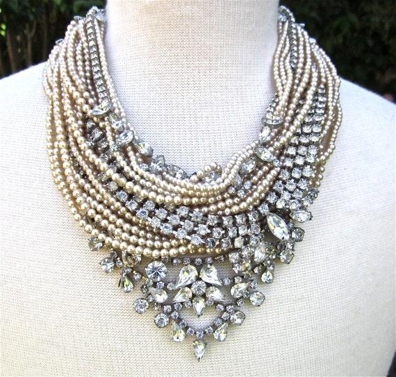 Chunky Rhinestone Necklace Pearl Bib Statement Necklace Bridal