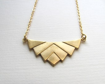 Art deco chevron pendant bib necklace on 14k gold plate chain, vintage geometric pendant, upcycled jewelry