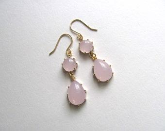 Light pink drop earrings on 14k gold fixtures, tear drop aqua glass, vintage-inspired