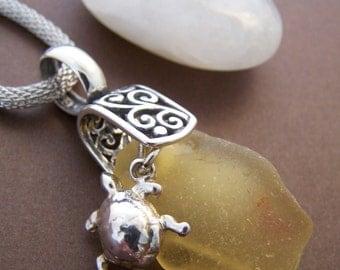 Devin Sea Glass Pendant - Sterling Silver Turtle with Filigree Pendant Necklace