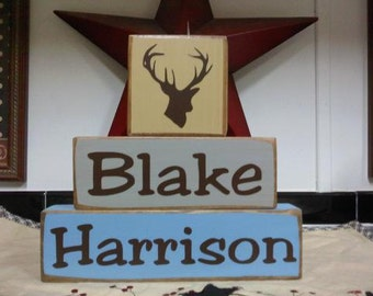 Personalized Primitive Boys OR Girls Three Piece Wood Block Sign Deer Duck Hunting Nursery Kids Room Decor