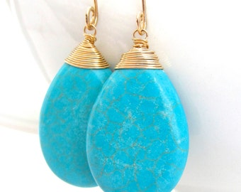Turquoise Gold Earrings, Wire Wrapped, Turquoise Teardrop, Huge Giant Large Gemstones, Handmade Jewelry by Sonja Blume