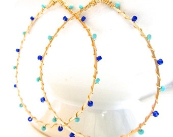 Gold Hoop Earrings, Wire Wrapped, Turquoise Seed Beads, Cobalt Blue Seed Beads, Delicate Earrings, Teardrop Hoop, Sonja's Signature Hoops