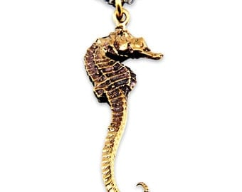 Sea Horse Necklace Bronze Pendant  - Ocean Animals - Gwen Delicious Jewelry Designs