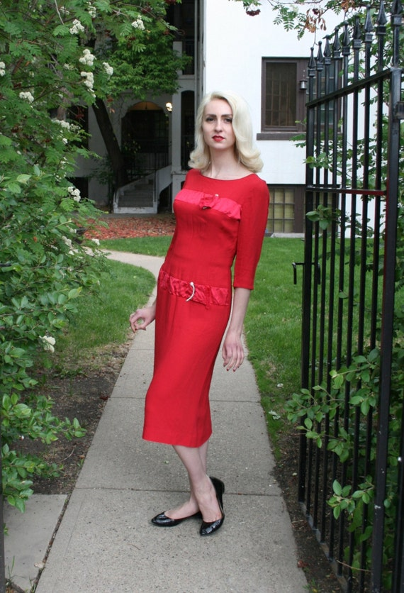 As Is / Vintage 1950s Hot Pink Sheath Dress