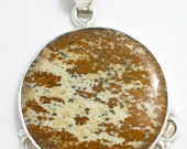 Round Picture jasper shades of brown and tan cabochon slide pendant in sterling silver 925