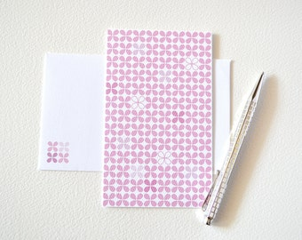 Pink Geometric Flower Card - Folded Note Card - blank inside