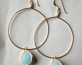 SALE: light turquoise blue stone drop hoops ( in gold or silver )