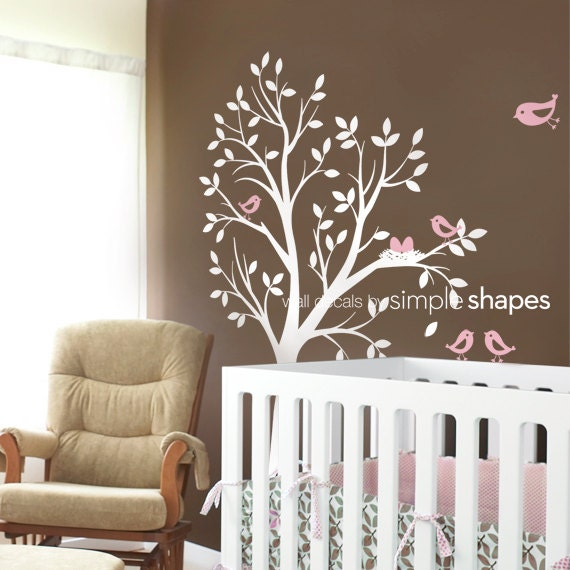 Vinyl Wall Decal Sticker - THE ORIGINAL - Tree with birds and nest for Baby Nursery