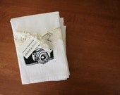 Camera. Tea Towel. Original Illustration Screen Print.