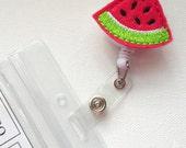 Watermelon - Retractable ID Felt Badge Holder - ID Badge Holder - Cute Badge Reel - Happy ID Badge Reel