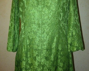 Vtg 60s Nile Green Satin Floral Brocade Bell Sleeve high Neck Mini Dress  S M