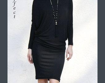 SALE / Boatneck Dolman Dress- Black modal