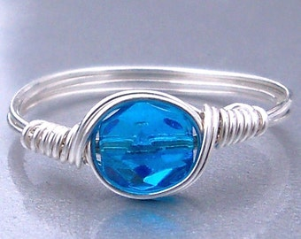 Aqua Czech Glass Argentium Sterling Silver or 14k Gold Filled Wire Wrapped Ring