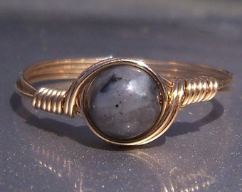Larvikite Ring, Custom Sized Ring, Stone of Norway, 14k Yellow Gold Filled Ring,  Wire Wrapped Ring