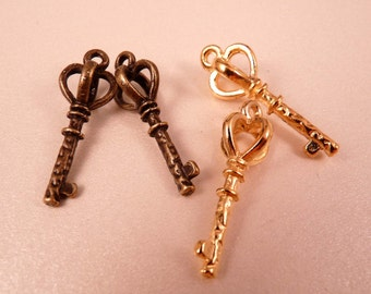 Skeleton Key Charms Antique Brass Charms Gold Charms Crown Beads Brass Findings Brass Beads Gold Beads
