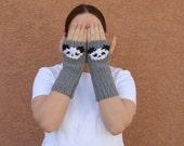 MADE TO ORDER Panda Fingerless Gloves, Grey, Gray Fingerless Gloves for Men, Women, Unisex Arm Warmers, Fingerless Mittens, Sleeping Panda