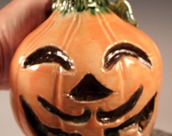 SALE: Halloween Pumpkin Face Jug with Mustache