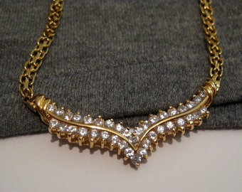 Gorgeous Gold over 925 Sterling Silver Necklace 2 rows of Clear Stones Free Ship