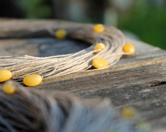 Organic Linen Necklace with Yellow Baltic Amber Natural Raw Multi Strand Rustic Eco Wedding Jewelry Earthy Colors Ecologic Fiber Mellow